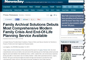 Newsday Announces Family Archival Solutions (FAS)