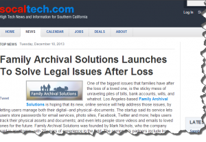 Socaltech.com Announces Launch of Family Archival Solutions (FAS)